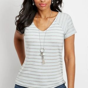 Maurices Gray Striped T-shirt - SZ Large